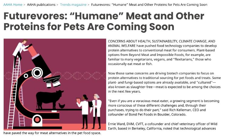 meat-free pet diet article